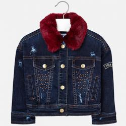 Dievčenský rifľový kabát s kožušinovým golierom 4488-085 dark