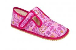 Detské barefoot papuče BEDA ružové