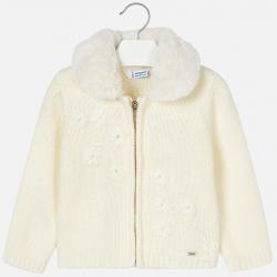 Dievčenský pletený sveter s kožušinovým golierom MAYORAL 4340-052 Natural