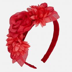 Dievčenská čelenka s kvetmi MAYORAL 10589-029 Red