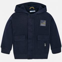 MAYORAL  chlapčenská mikina, sveter vo vnútri s kožušinou 4413-051 dark