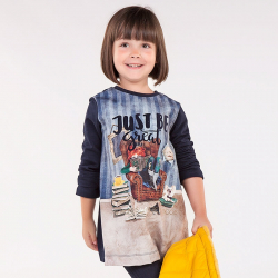 Dievčenská tunika šaty s potlačou MAYORAL 4972-087 navy