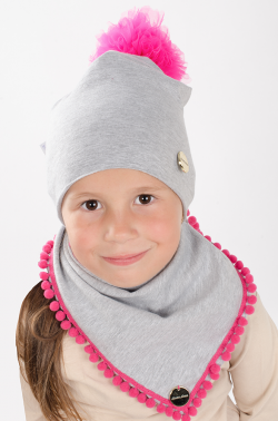 Bavlnená dievčenská čiapka s tylovým brmbolcom 10110 grey/fuxia