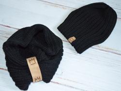 Detská čiapka pletená s nákrčníkom MM 10118 čierna