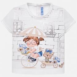 MAYORAL dievčenské tričko 1010-033 white-gold