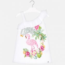 Dievčenská tunika šaty s potlačou MAYORAL 3953-027 white-azalea