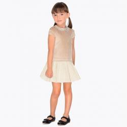 MAYORAL dievčenské sametové šaty 4940-075 Vison