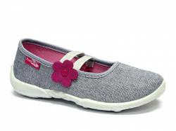Textilné dievčenské papuče RENBUT 414 sivý brokát
