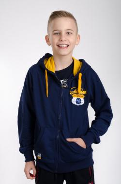 Chlapčenská bavlnená mikina s kapucňou MM 927 blue