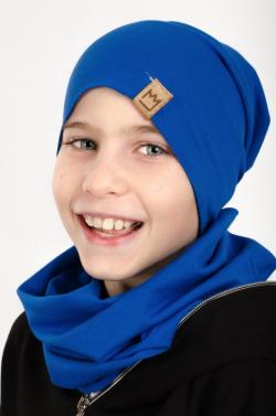 Bavlnená čiapka + tunelový šál džínsový 10102 blue