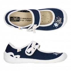 Dievčenské papuče baleríny s koženou stielkou 3F ATENA modrá