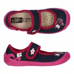 bdb76c34ee4e3 Dievčenské papuče baleríny s koženou stielkou 3F ATENA jeans