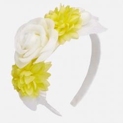 Dievčenská čelenka s kvetmi MAYORAL 10589-033 Natural