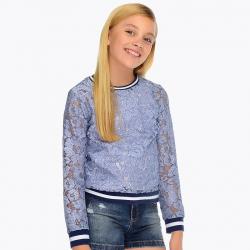MAYORAL dievčenský top čipkovaný 6404-054 Blue
