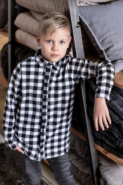 Chlapčenská bavlnená kockovaná košeľa MM 391 white/black