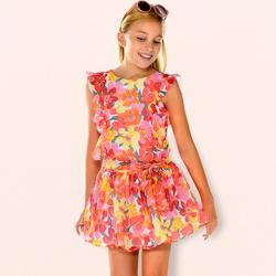 MAYORAL  dievčenské letné  šaty 6925-025 coral