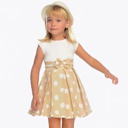 MAYORAL  dievčenské elegantné šaty 3938-084 ocher