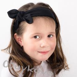 Dievčenská bavlnená čelenka s mašľou MM 10143 black