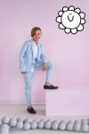 Chlapčenské bavlnené elegantné nohavice MM 9 light blue