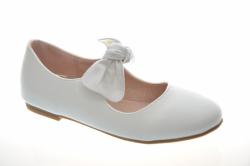 Elegantné dievčenské balerínky s lesklou mašľou DM317-3 white