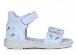 D.D.STEP dievčenské kožené sandále K03-3008M white