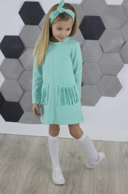 Dievčenská tunika šaty so strapcami MM 595 mint strapce