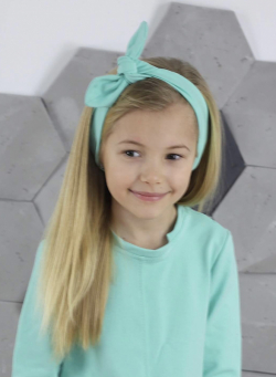Dievčenská bavlnená čelenka s mašľou MM 10143 mint