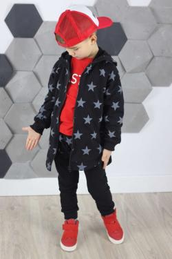 Bavlnená chlapčenská mikina MM 932 black/grey star