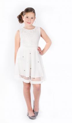 Elegantné dievčenské šaty biele MM 596 white