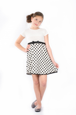 Elegantné dievčenské šaty s bodkami MM 598 white bodka