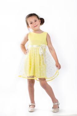 Elegantné dievčenské šaty bledožlté MM 521 yellow