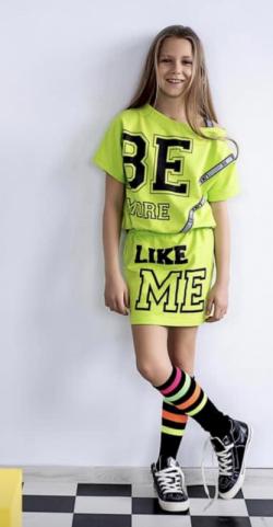 Dievčenská letné šaty MM 529 neon green