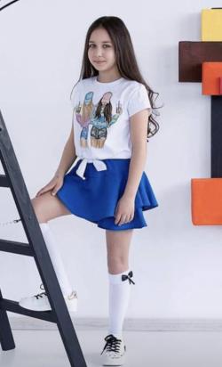 Dievčenská bavlnená sukňa  MM 521 blue