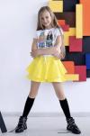 Dievčenská bavlnená sukňa  MM 521 yellow