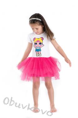 Dievčenské bavlnené šaty LOL s tylom  MM 527