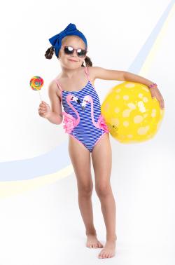 Dievčenské jednodielne plavky MM 102 flamingo