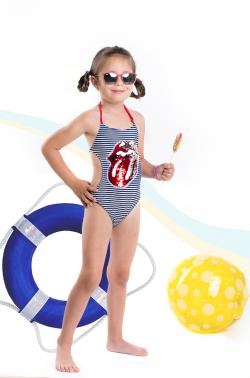 Dievčenské jednodielne plavky MM 103 pery