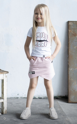 Dievčenská bavlnená sukňa-kraťase 2v1 ružové
