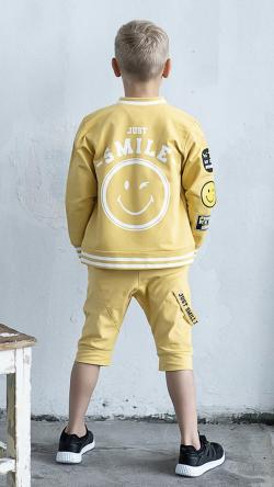 Bavlnená chlapčenská mikina SMILE žltá