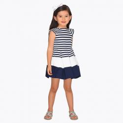 Elegantné bielomodré MAYORAL šaty 3943-065 navy