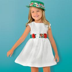 MAYORAL dievčenské šaty s kvetovaným opaskom 3919-24 White