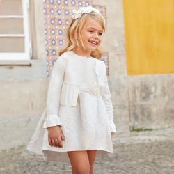Bielozlaté taftové šaty MAYORAL 3913-056 Natural