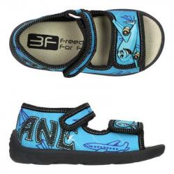 Detské papuče sandále s koženou stielkou 3F airplane