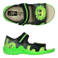 Detské papuče sandále s koženou stielkou 3F monster