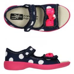 Detské papuče sandále s koženou stielkou 3F mašľa