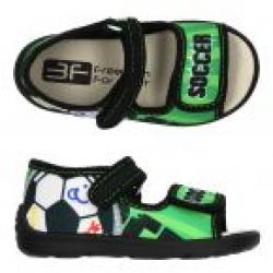 Detské papuče sandále s koženou stielkou 3F soccer green