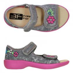 Detské papuče sandále s koženou stielkou 3F grey