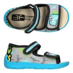 Detské papuče sandále s koženou stielkou 3F dino
