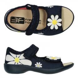Detské papuče sandále s koženou stielkou 3F kvet