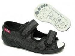 Dievčenské papučky  sandálky RENBUT 23-378 čierny brokát